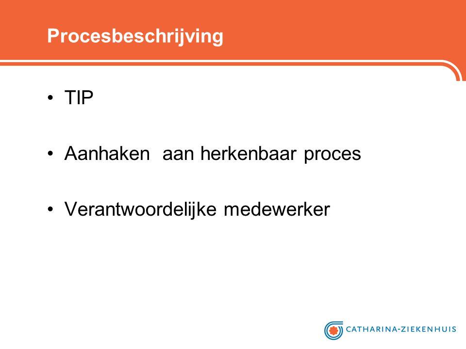 Procesbeschrijving TIP Aanhaken aan herkenbaar proces Verantwoordelijke medewerker