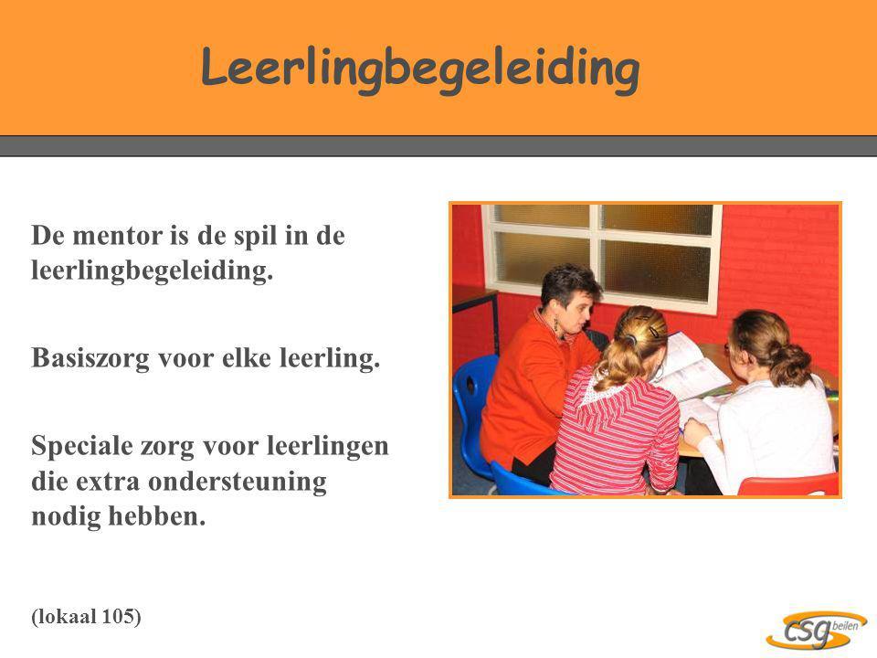 Leerlingbegeleiding De mentor is de spil in de leerlingbegeleiding.