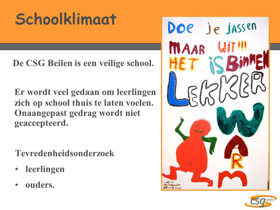 Schoolklimaat De CSG Beilen is een veilige school.