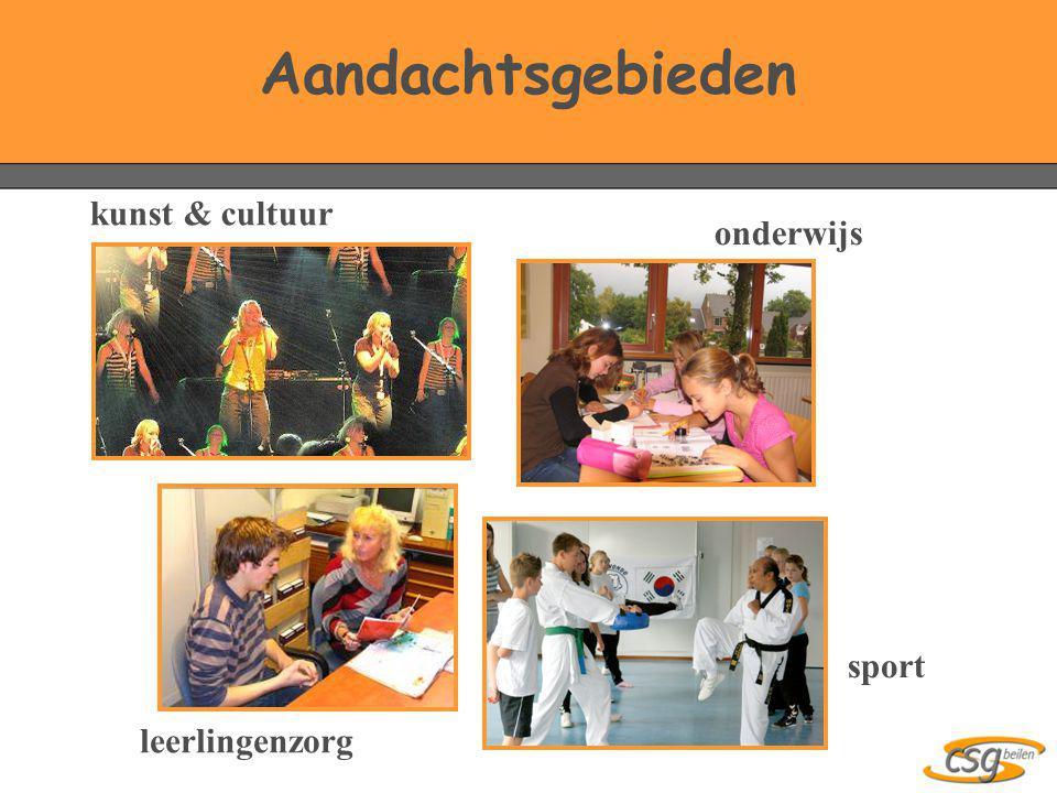 Aandachtsgebieden kunst & cultuur onderwijs sport leerlingenzorg