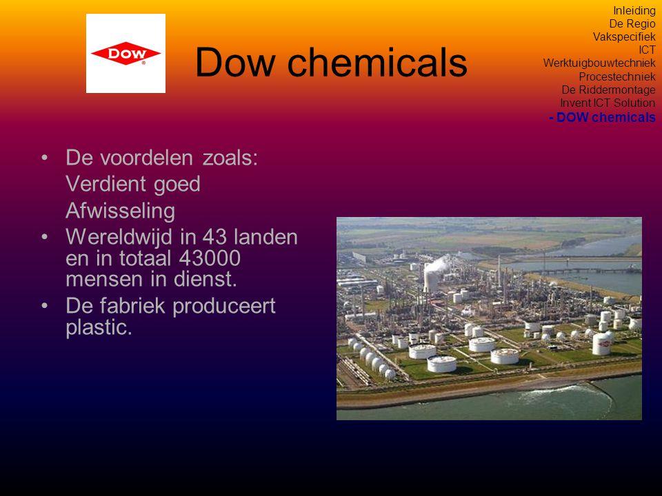 Dow chemicals De voordelen zoals: Verdient goed Afwisseling