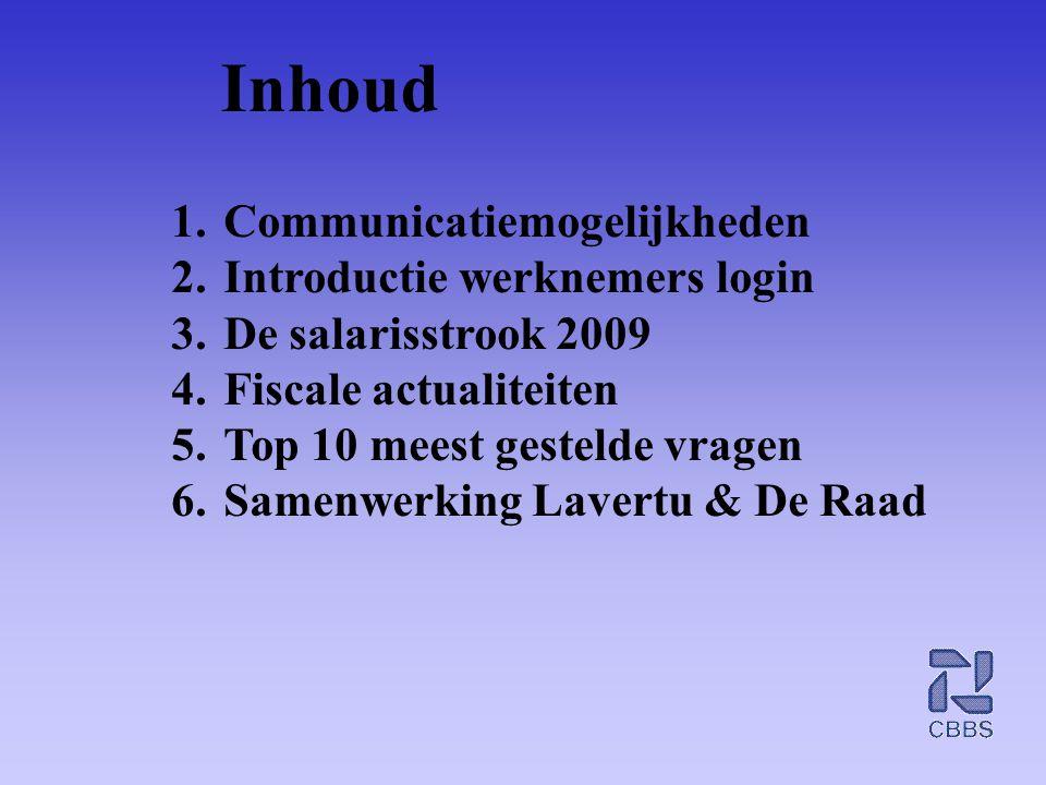 Inhoud Communicatiemogelijkheden Introductie werknemers login