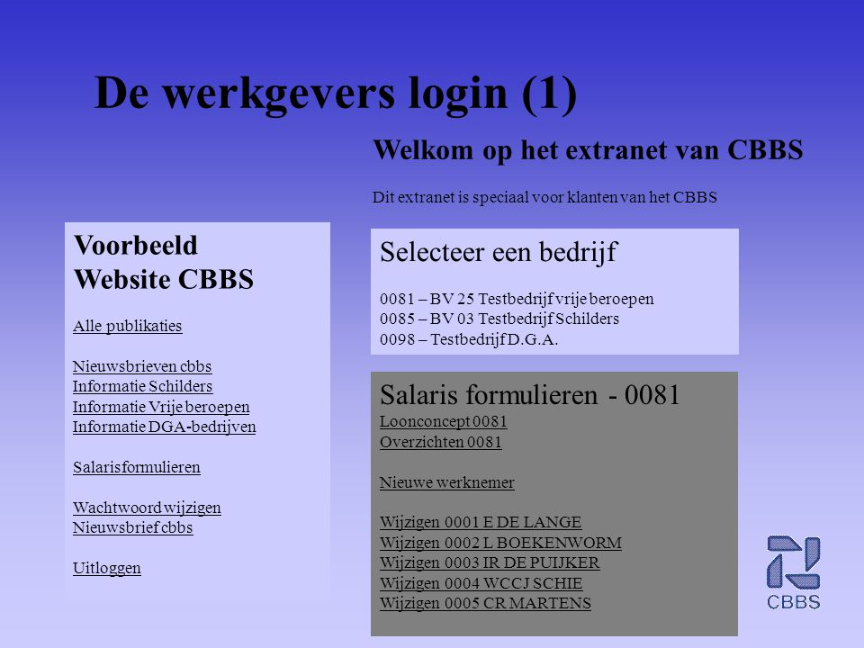 De werkgevers login (1) Welkom op het extranet van CBBS Voorbeeld