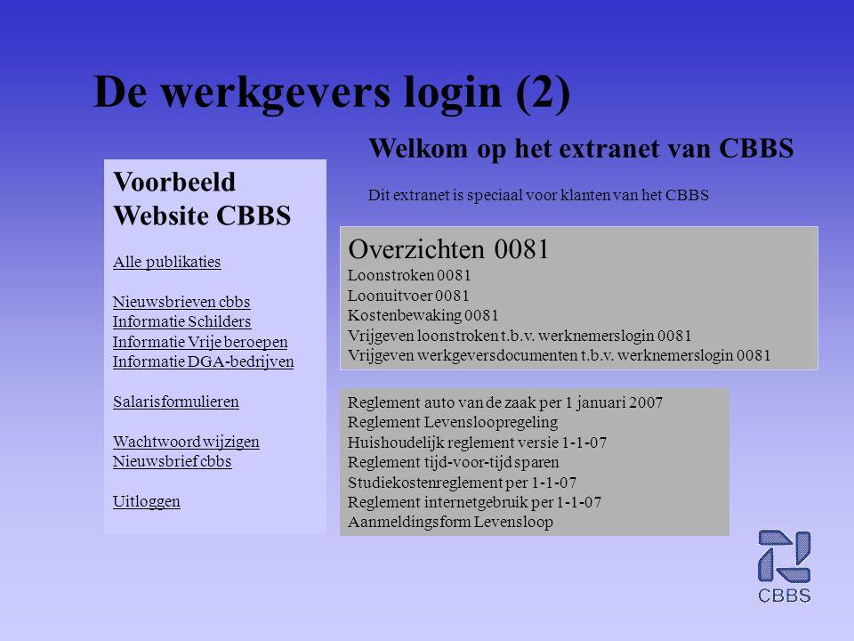 De werkgevers login (2) Welkom op het extranet van CBBS Voorbeeld
