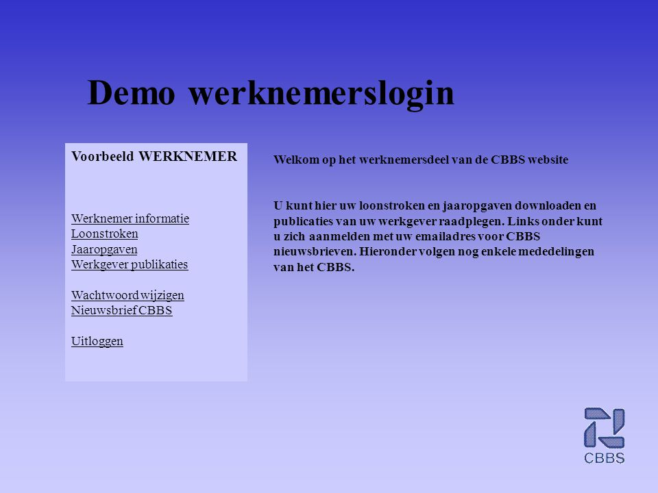 Demo werknemerslogin Voorbeeld WERKNEMER