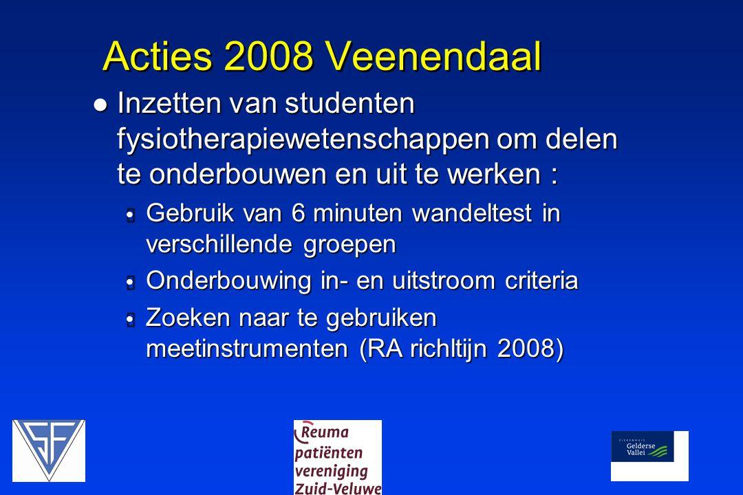 Acties 2008 Veenendaal Inzetten van studenten fysiotherapiewetenschappen om delen te onderbouwen en uit te werken :