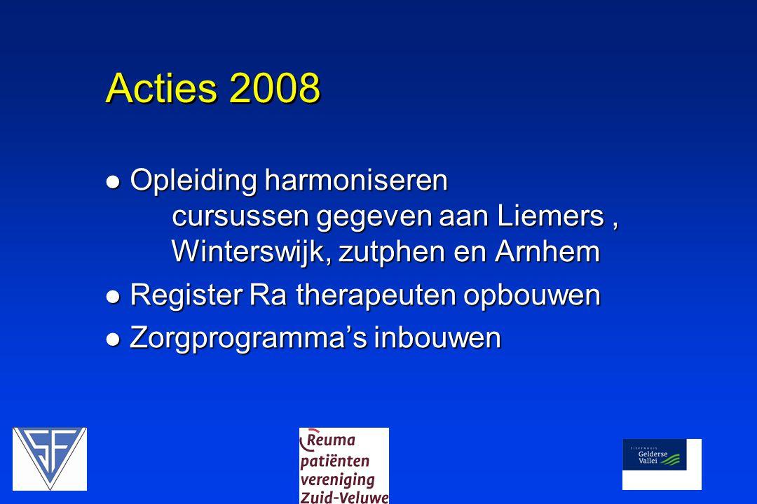 Acties 2008 Opleiding harmoniseren cursussen gegeven aan Liemers , Winterswijk, zutphen en Arnhem.