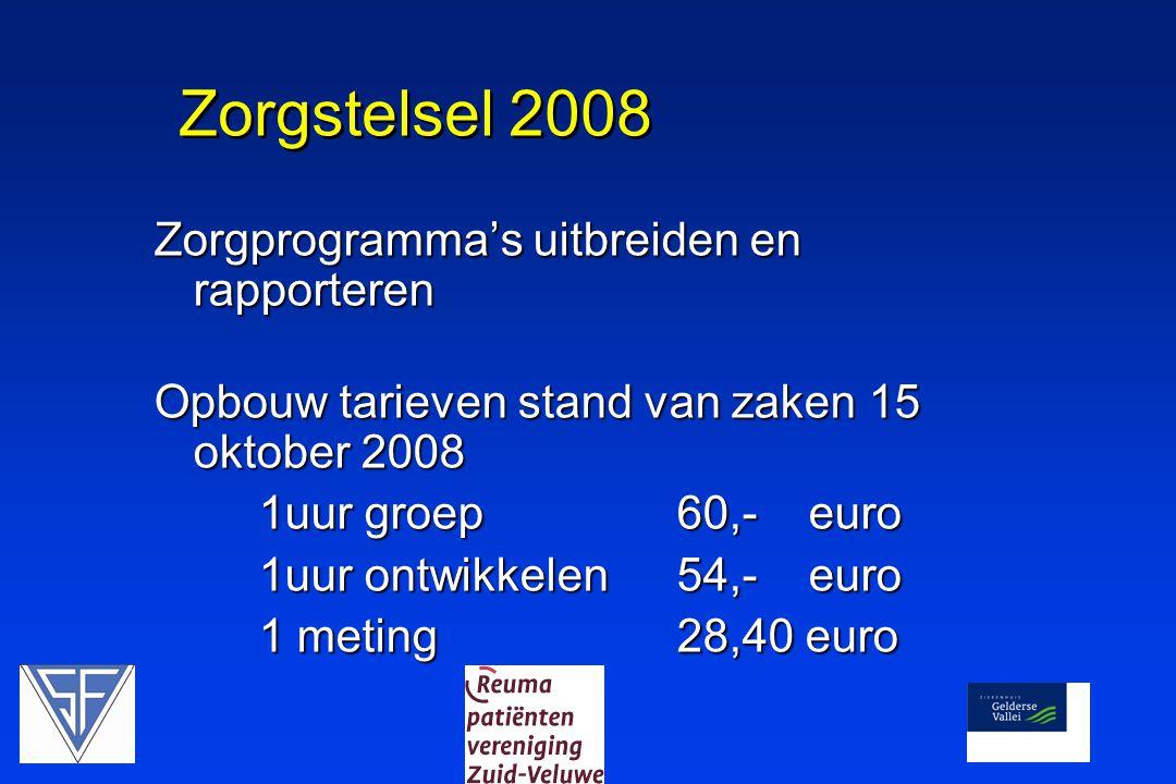 Zorgstelsel 2008 Zorgprogramma's uitbreiden en rapporteren