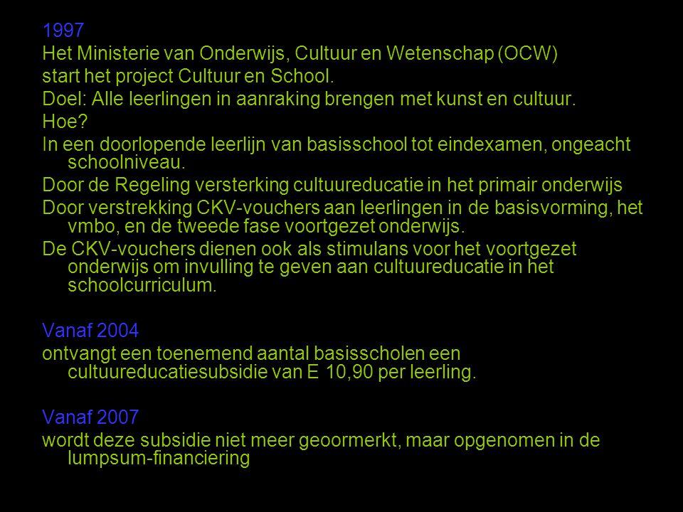 1997 Het Ministerie van Onderwijs, Cultuur en Wetenschap (OCW) start het project Cultuur en School.