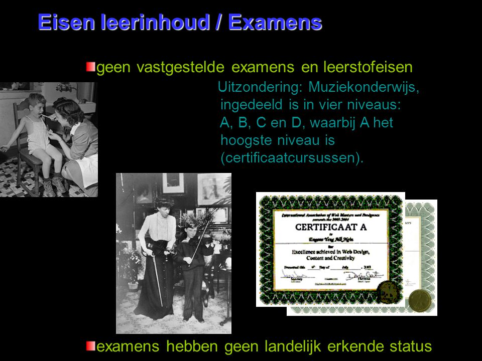 Eisen leerinhoud / Examens
