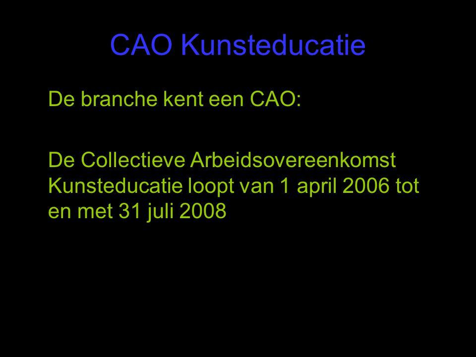 CAO Kunsteducatie De branche kent een CAO:
