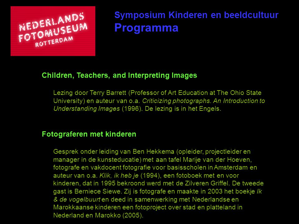Programma Symposium Kinderen en beeldcultuur