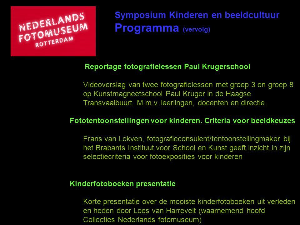 Programma (vervolg) Symposium Kinderen en beeldcultuur