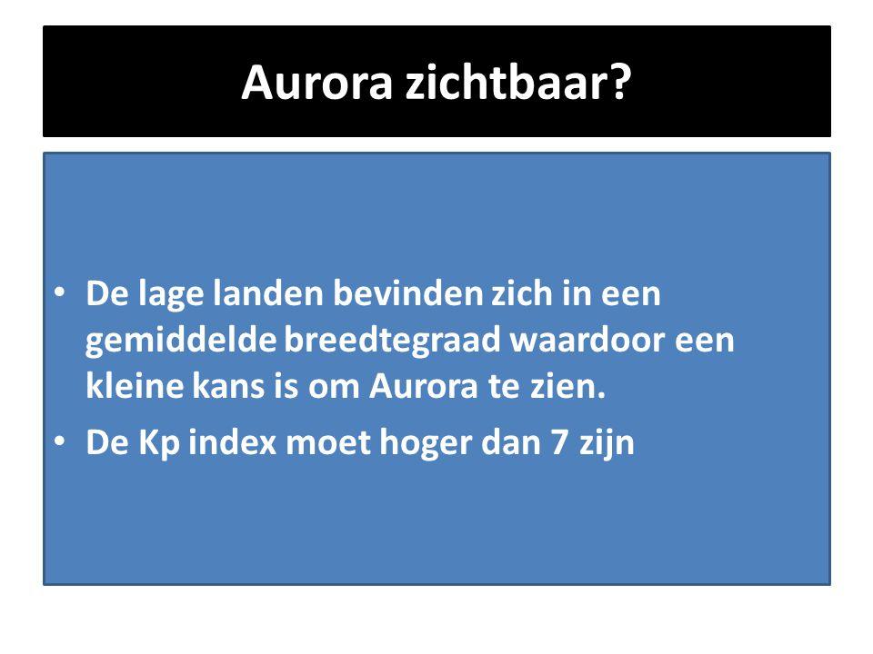 Aurora zichtbaar De lage landen bevinden zich in een gemiddelde breedtegraad waardoor een kleine kans is om Aurora te zien.