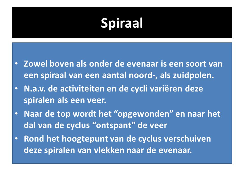 Spiraal Zowel boven als onder de evenaar is een soort van een spiraal van een aantal noord-, als zuidpolen.