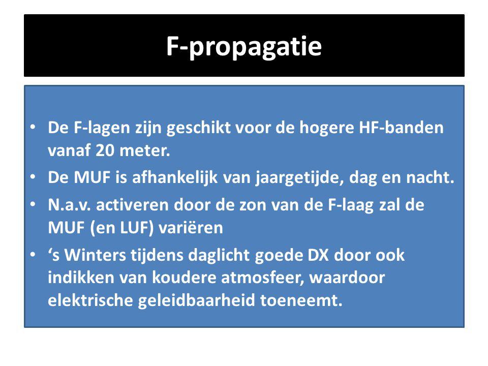 F-propagatie De F-lagen zijn geschikt voor de hogere HF-banden vanaf 20 meter. De MUF is afhankelijk van jaargetijde, dag en nacht.