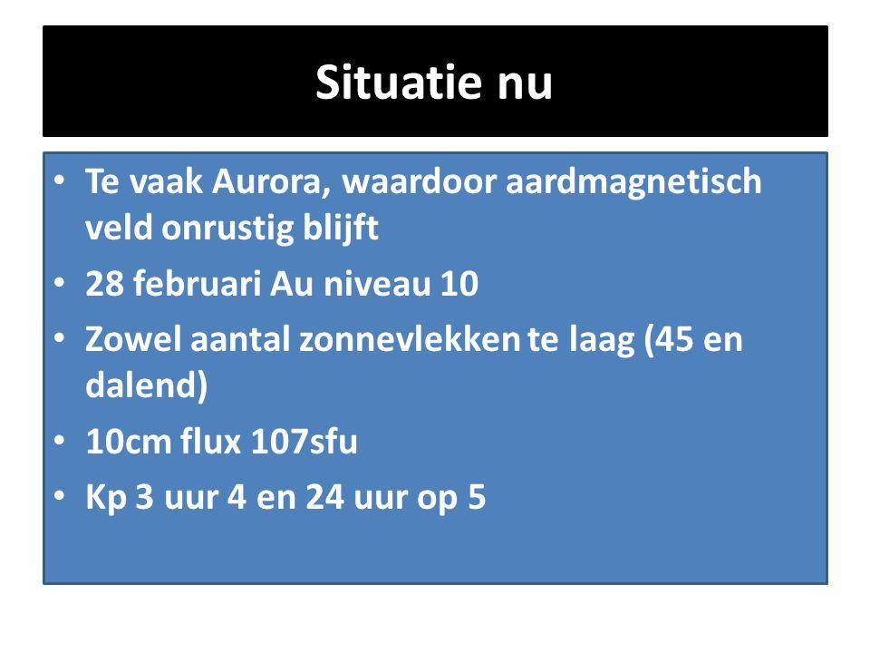 Situatie nu Te vaak Aurora, waardoor aardmagnetisch veld onrustig blijft. 28 februari Au niveau 10.