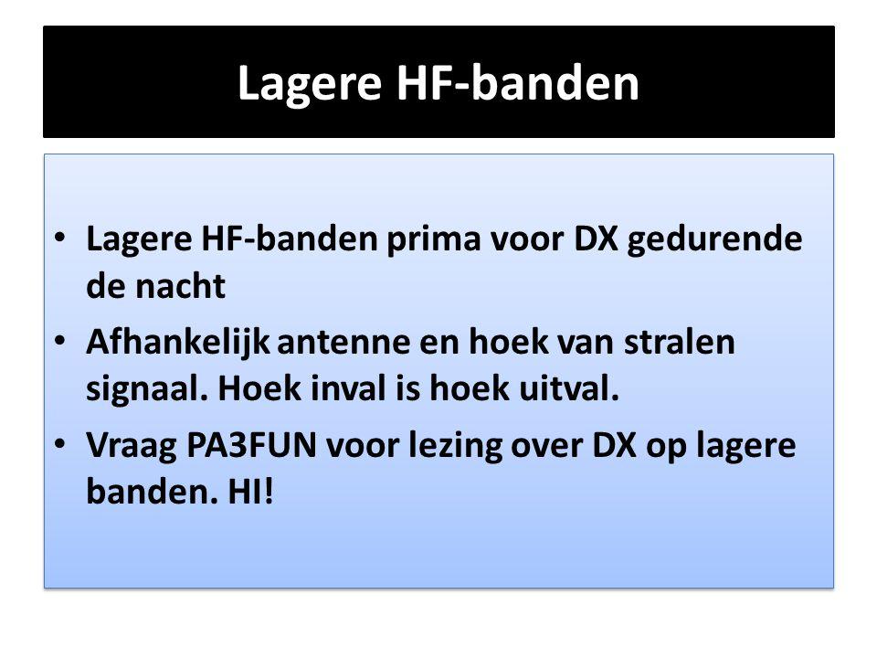 Lagere HF-banden Lagere HF-banden prima voor DX gedurende de nacht