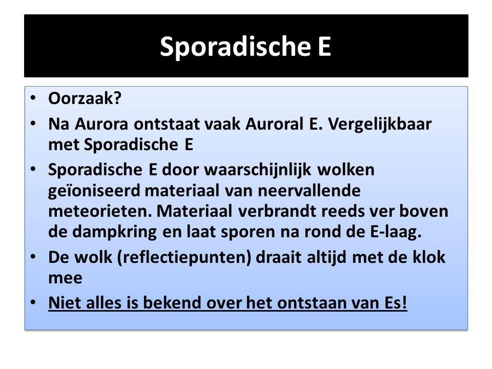 Sporadische E Oorzaak Na Aurora ontstaat vaak Auroral E. Vergelijkbaar met Sporadische E.