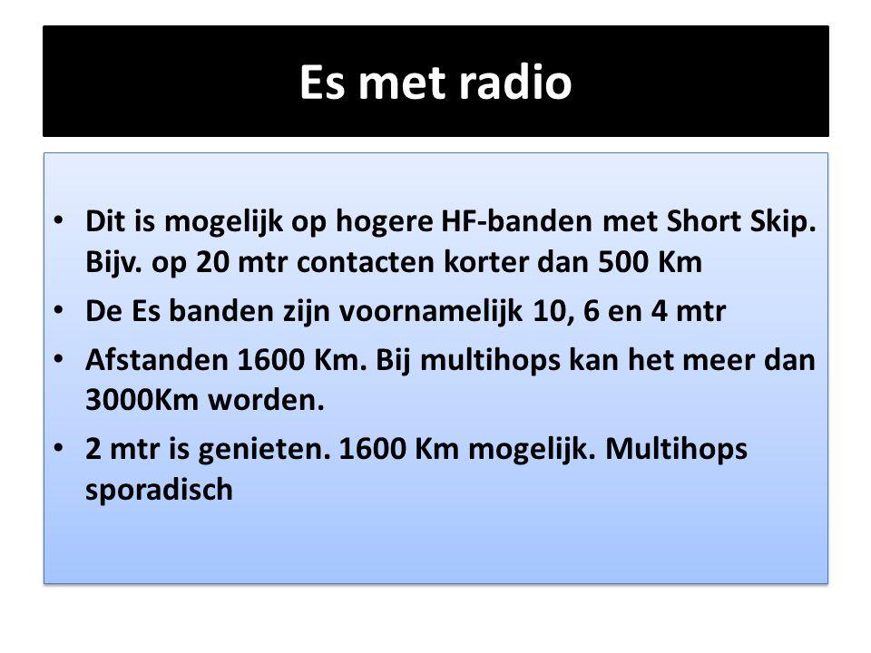 Es met radio Dit is mogelijk op hogere HF-banden met Short Skip. Bijv. op 20 mtr contacten korter dan 500 Km.