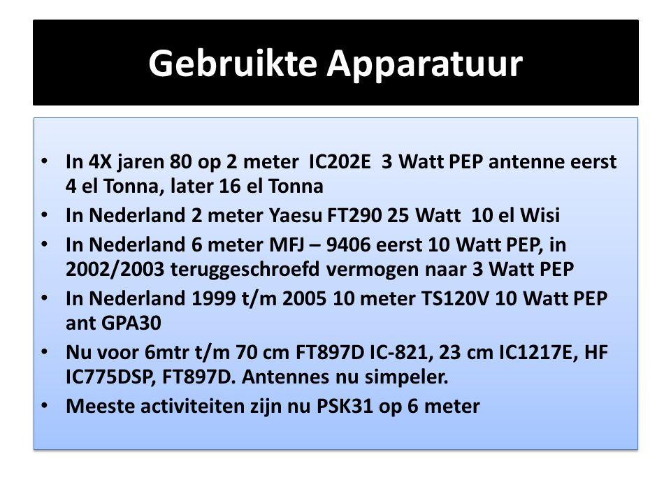 Gebruikte Apparatuur In 4X jaren 80 op 2 meter IC202E 3 Watt PEP antenne eerst 4 el Tonna, later 16 el Tonna.