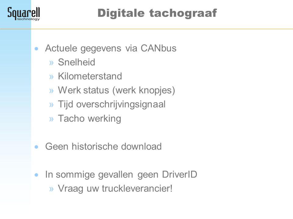 Digitale tachograaf Actuele gegevens via CANbus Snelheid