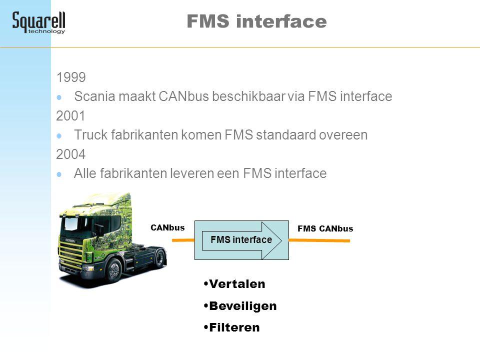 FMS interface 1999 Scania maakt CANbus beschikbaar via FMS interface