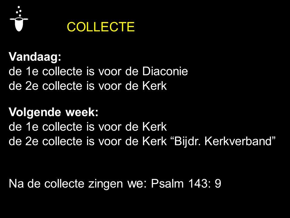 COLLECTE Vandaag: de 1e collecte is voor de Diaconie. de 2e collecte is voor de Kerk. Volgende week:
