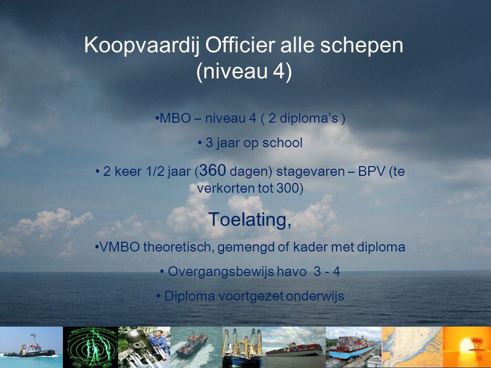 Koopvaardij Officier alle schepen (niveau 4)
