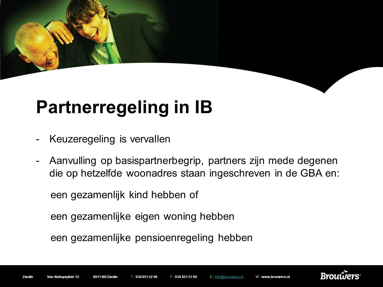 Partnerregeling in IB Keuzeregeling is vervallen
