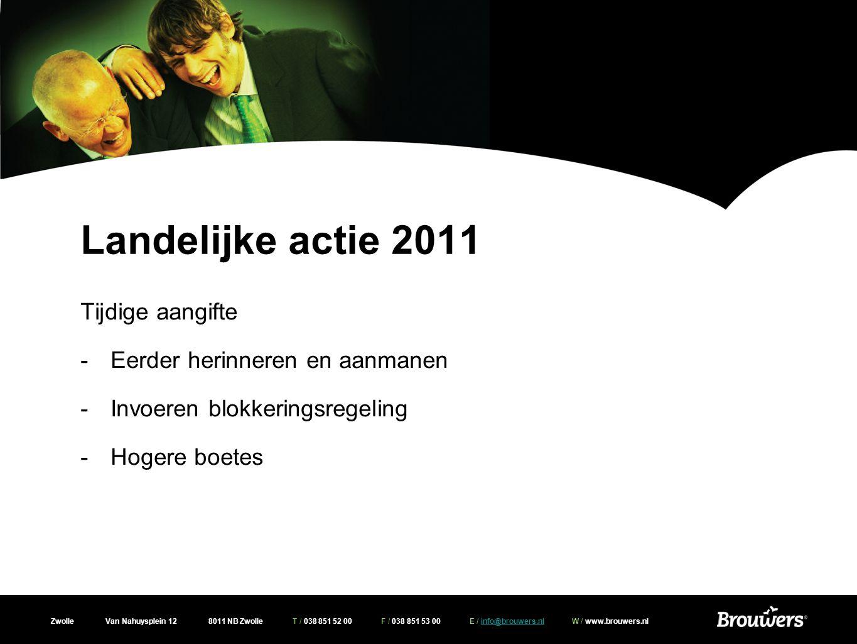 Landelijke actie 2011 Tijdige aangifte Eerder herinneren en aanmanen