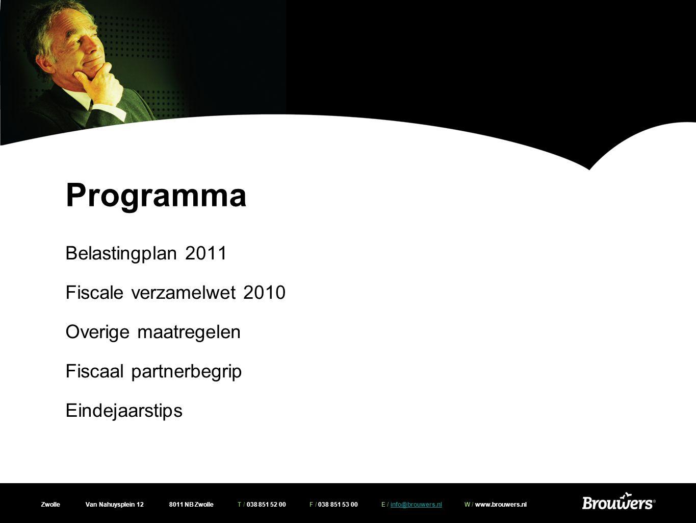 Programma Belastingplan 2011 Fiscale verzamelwet 2010