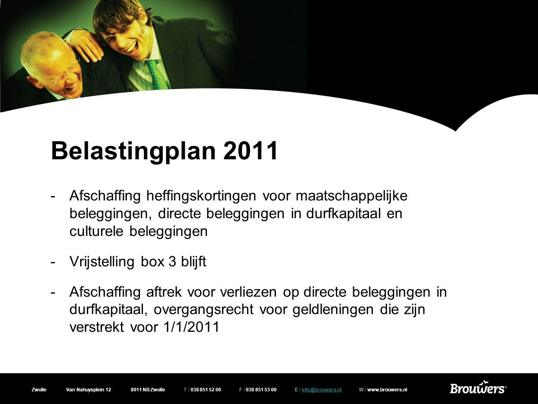 Belastingplan 2011 Afschaffing heffingskortingen voor maatschappelijke beleggingen, directe beleggingen in durfkapitaal en culturele beleggingen.