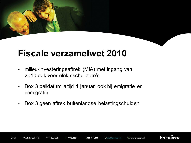 Fiscale verzamelwet 2010 milieu-investeringsaftrek (MIA) met ingang van 2010 ook voor elektrische auto's.