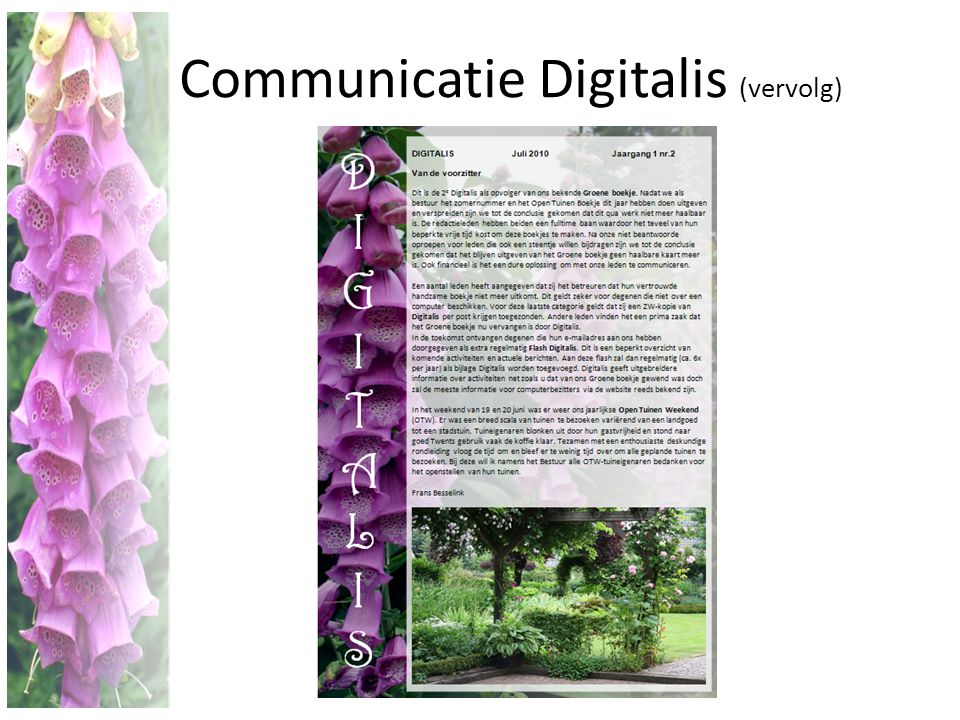 Communicatie Digitalis (vervolg)