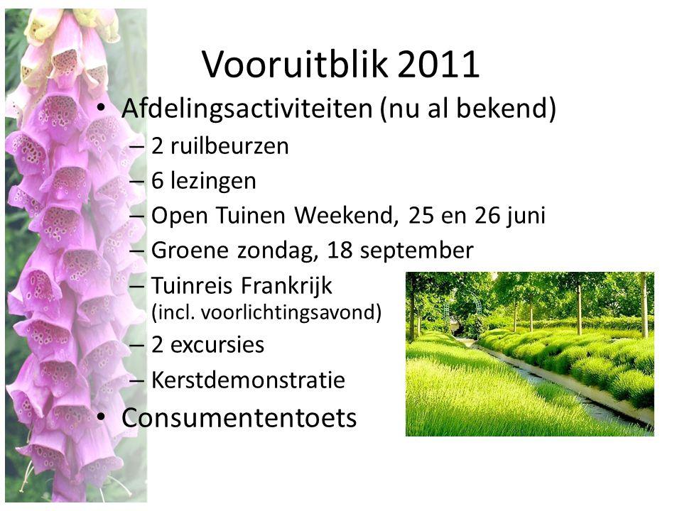 Vooruitblik 2011 Afdelingsactiviteiten (nu al bekend) Consumententoets