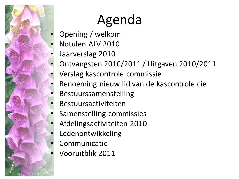Agenda Opening / welkom Notulen ALV 2010 Jaarverslag 2010