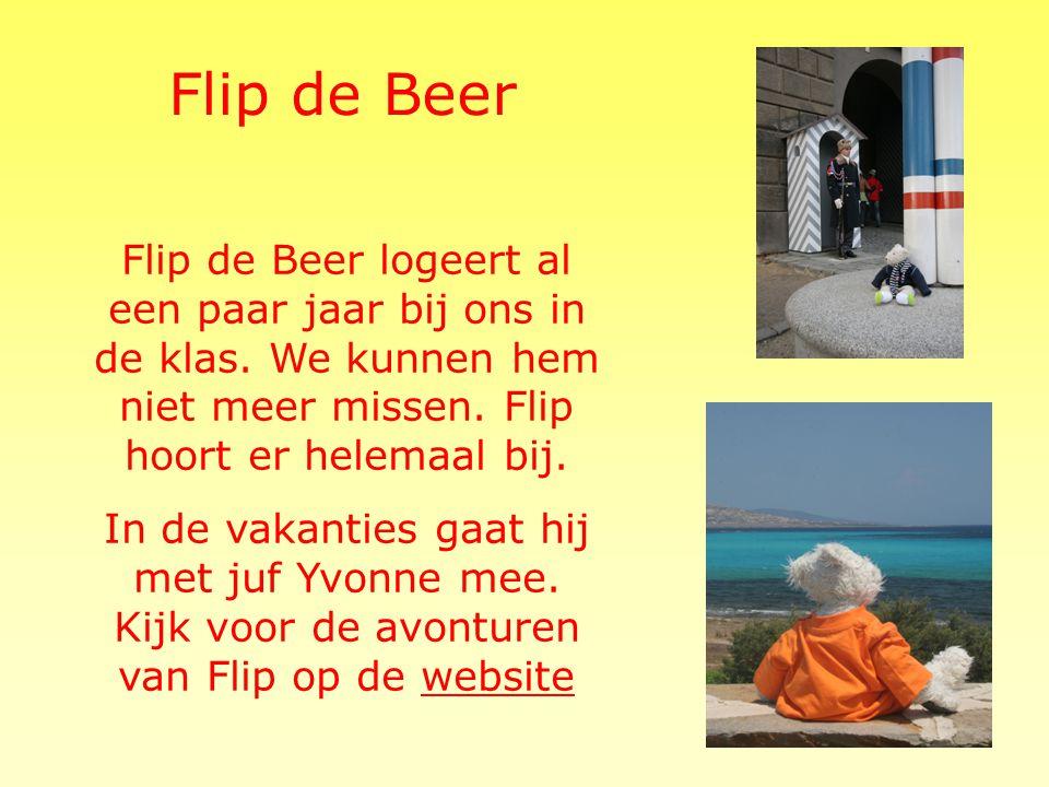 Flip de Beer Flip de Beer logeert al een paar jaar bij ons in de klas. We kunnen hem niet meer missen. Flip hoort er helemaal bij.