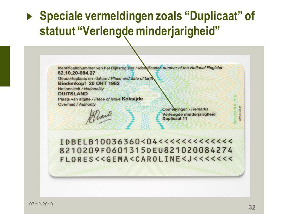 Speciale vermeldingen zoals Duplicaat of statuut Verlengde minderjarigheid