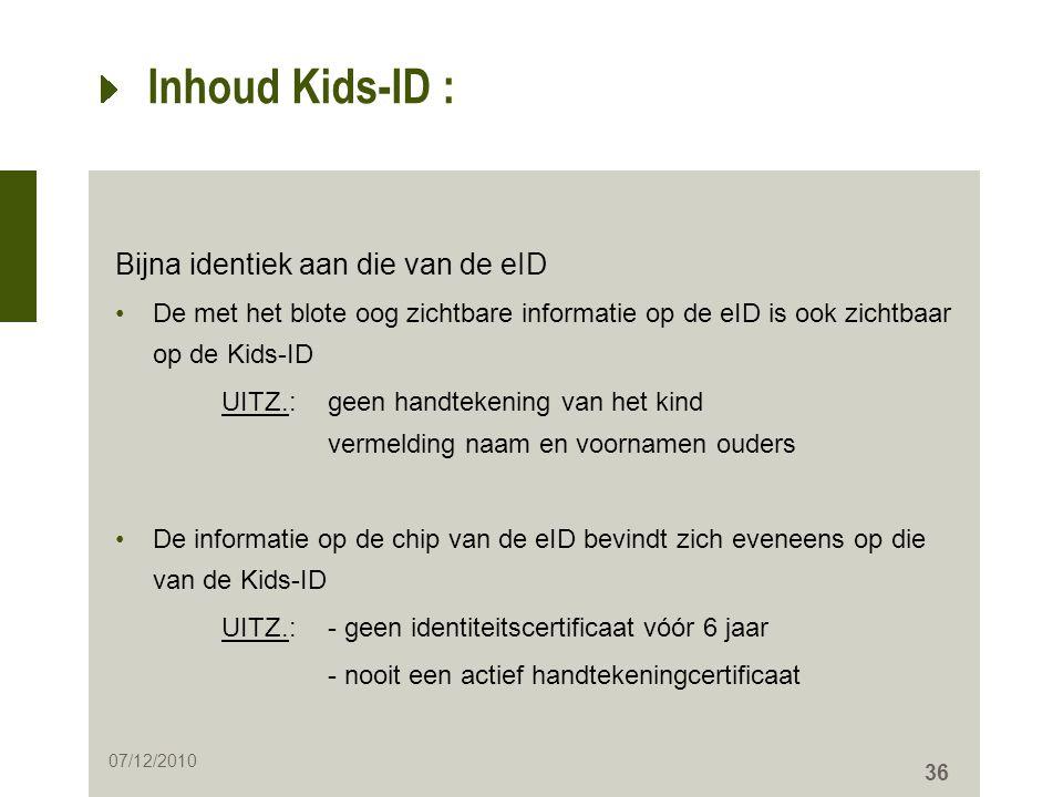 Inhoud Kids-ID : Bijna identiek aan die van de eID