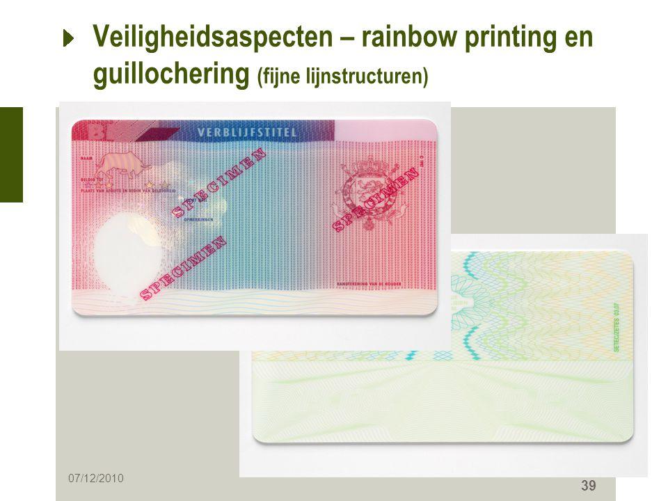 Veiligheidsaspecten – rainbow printing en guillochering (fijne lijnstructuren)