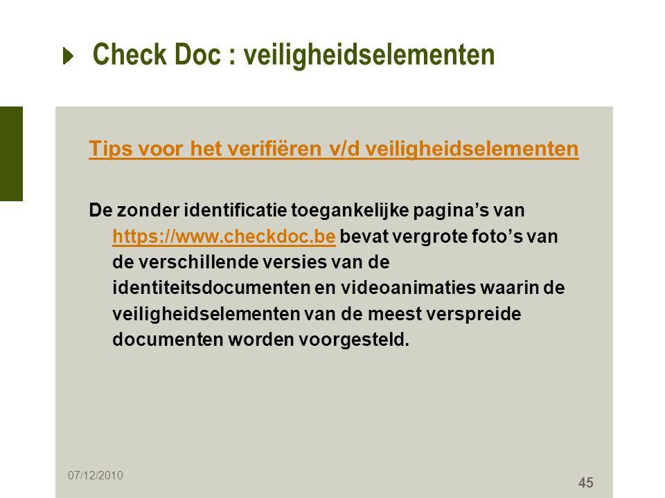 Check Doc : veiligheidselementen