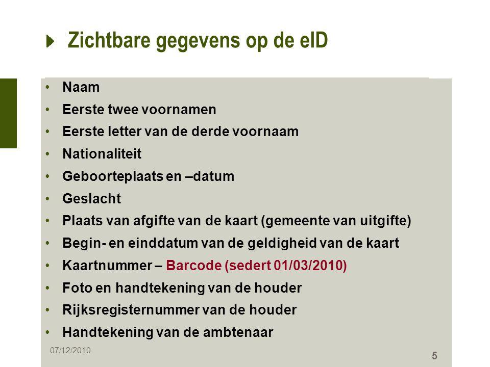 Zichtbare gegevens op de eID