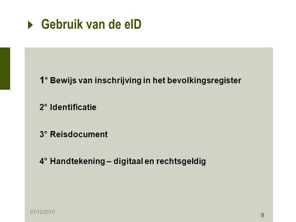 Gebruik van de eID 1° Bewijs van inschrijving in het bevolkingsregister. 2° Identificatie. 3° Reisdocument.