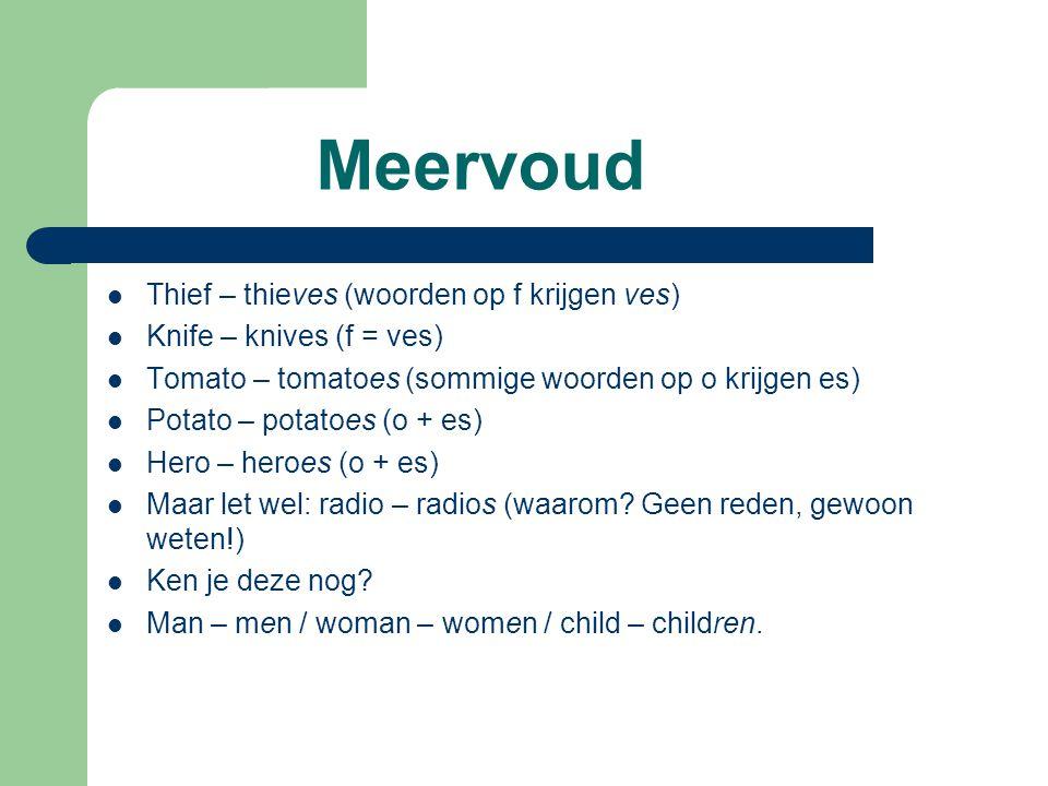 Meervoud Thief – thieves (woorden op f krijgen ves)