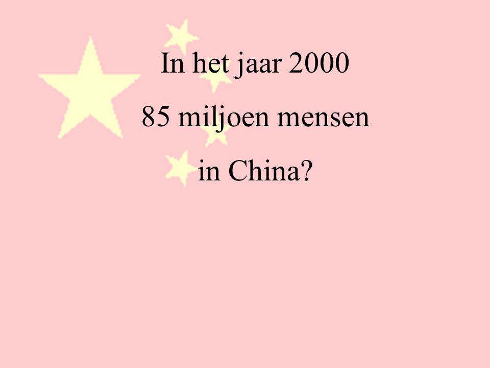 In het jaar 2000 85 miljoen mensen in China
