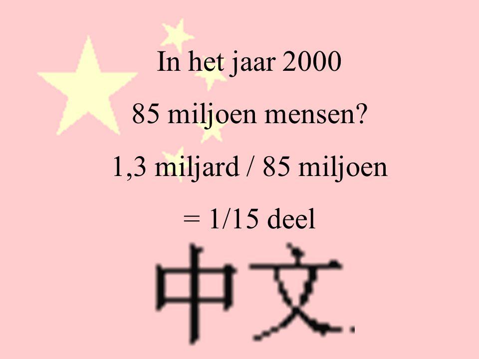 In het jaar 2000 85 miljoen mensen 1,3 miljard / 85 miljoen = 1/15 deel