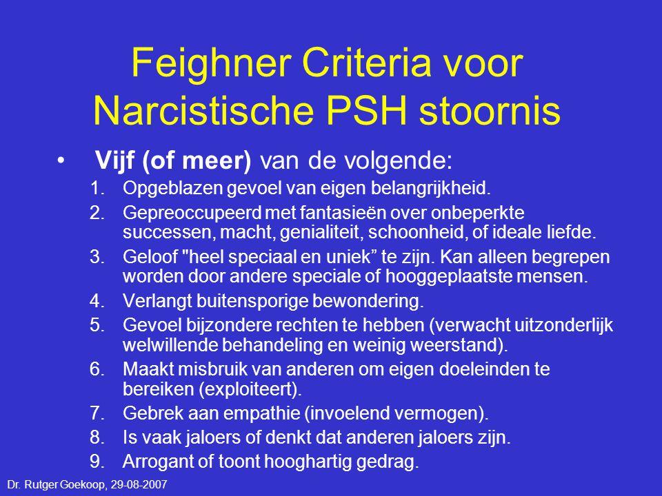 Feighner Criteria voor Narcistische PSH stoornis