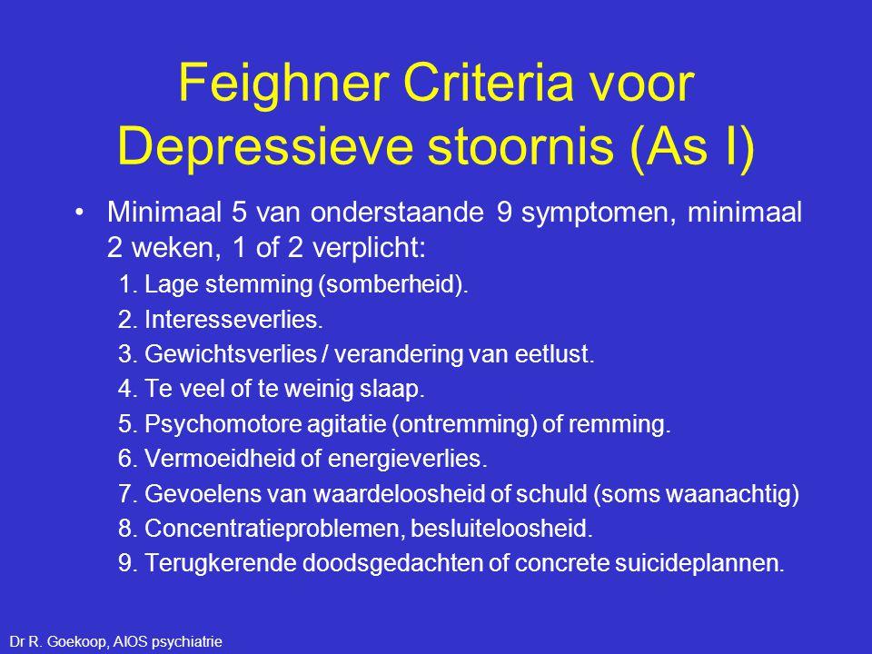 Feighner Criteria voor Depressieve stoornis (As I)