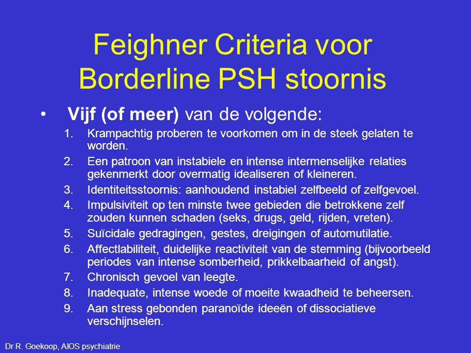 Feighner Criteria voor Borderline PSH stoornis